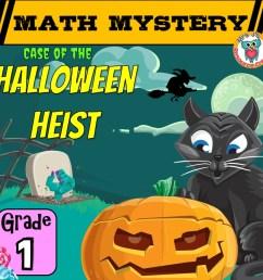 1st Grade Halloween Math Mystery Game Worksheet Activity [ 945 x 945 Pixel ]
