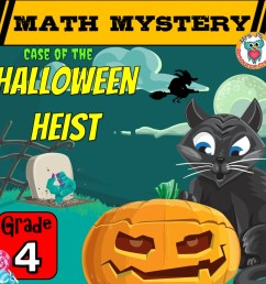 Halloween Math Game Mystery Activity for GRADE 4 - Printable Worksheets [ 945 x 945 Pixel ]
