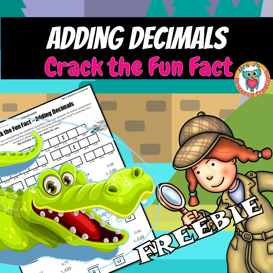 medium resolution of Adding Decimals Worksheet to Crack a Fun Fact!