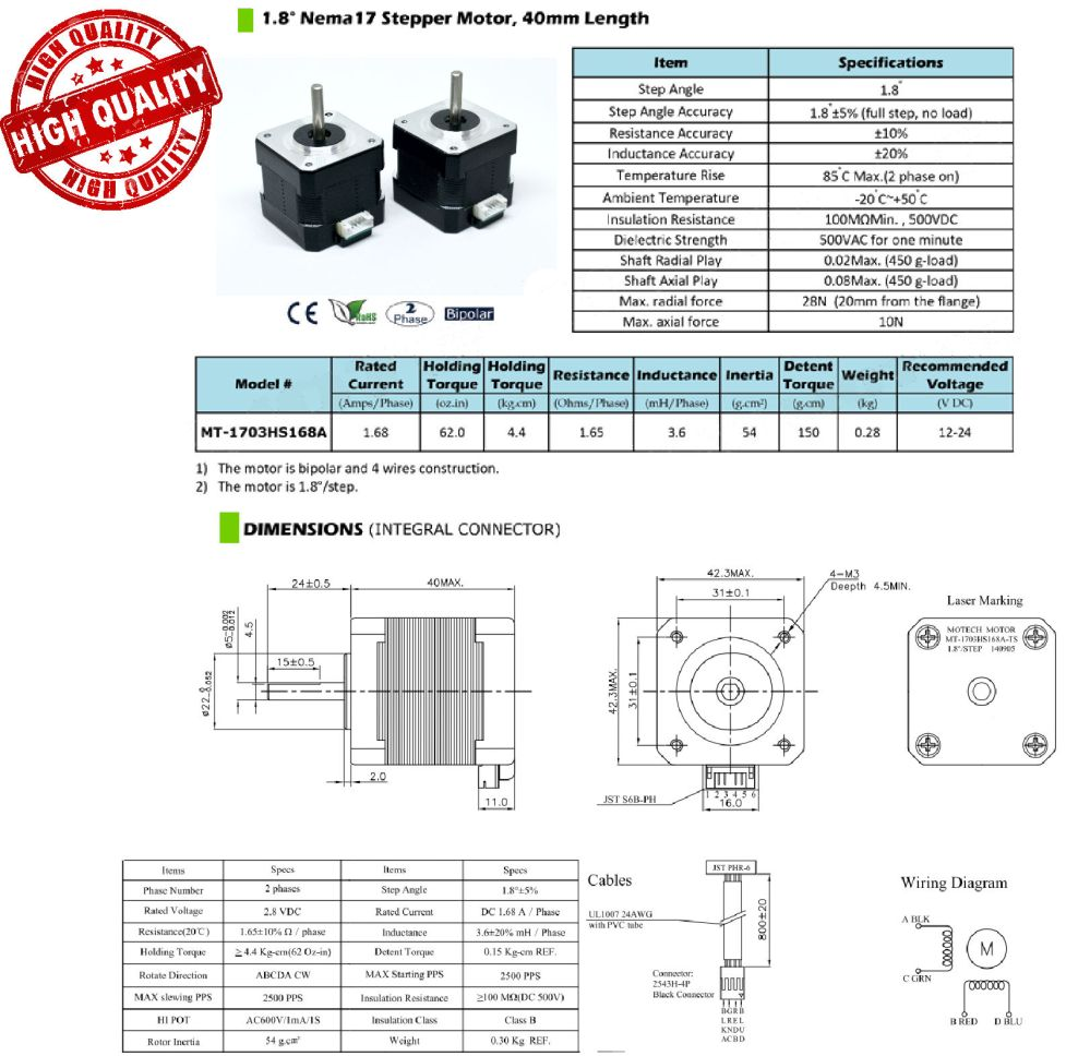 medium resolution of nema 17 stepper motor pack of two custom cables jjrobots description nema 17 wiring diagram