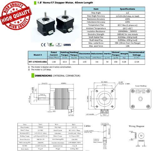 small resolution of nema 17 stepper motor pack of two custom cables jjrobots description nema 17 wiring diagram