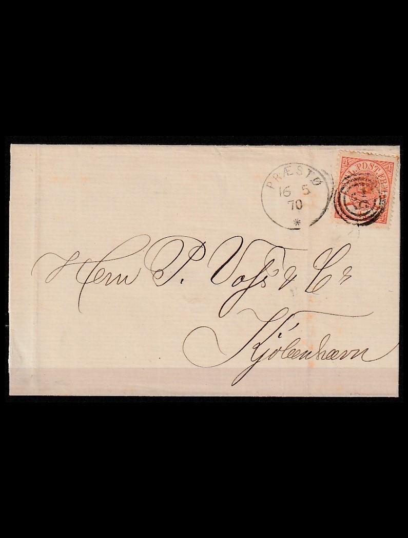 DK 4SK på brev fra Præstø til København 16-5-1870