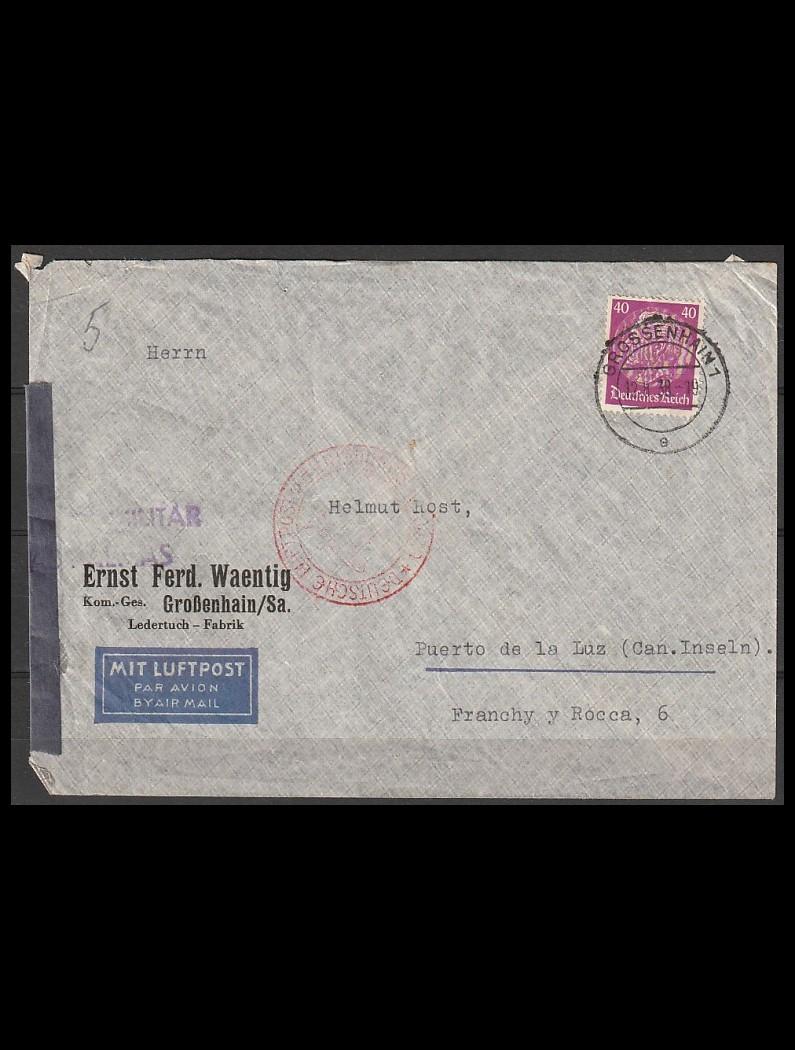 Tyske Rige ZEPPELIN brev til Grand Canaria 12-8-38
