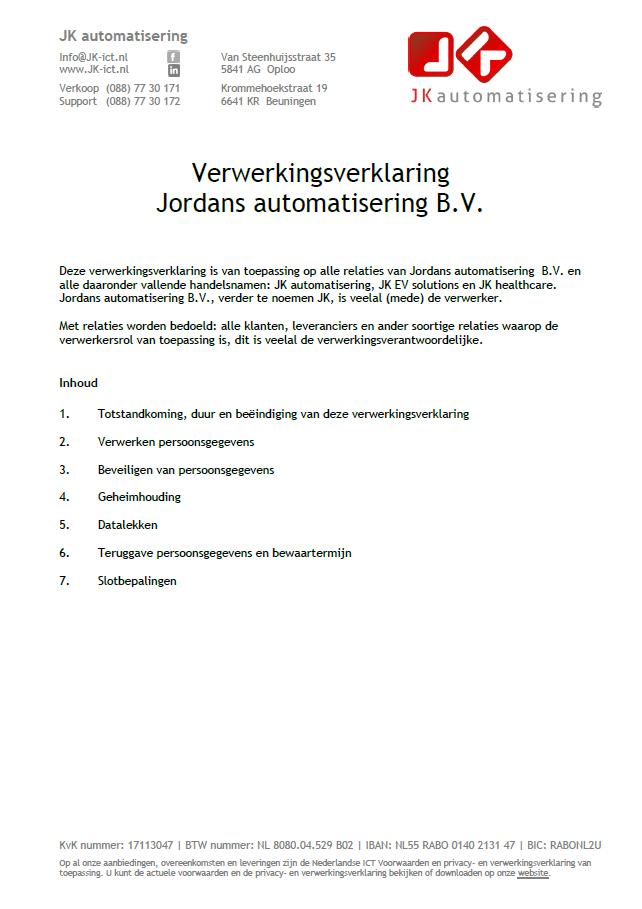 Verwerkingsverklaring Jordans automatisering BV