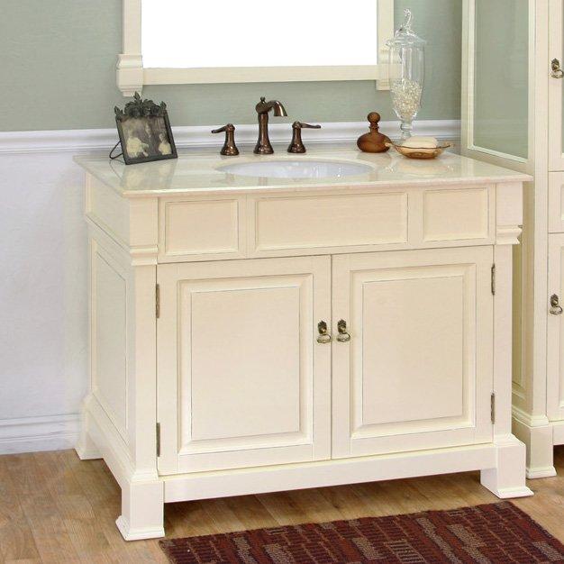 Bellaterra 42 Single Sink Bathroom Vanity  Cream White