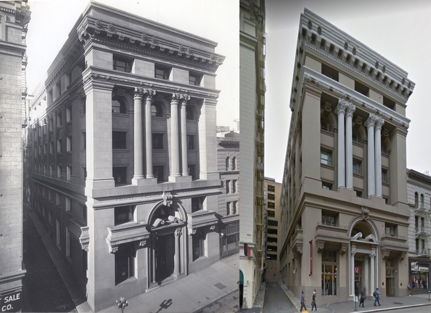 "333 Grant Ave. San Francisco - showing the ""1912"" photo on the left and the 2014 photo on the right."