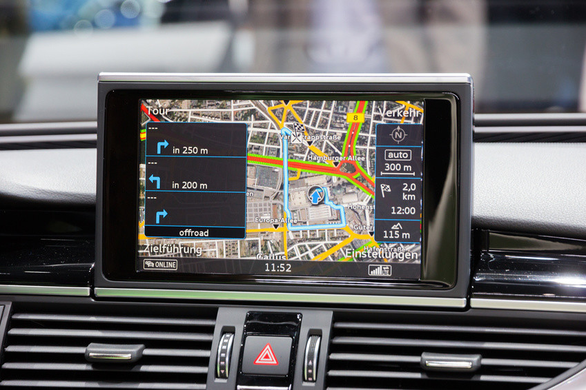 FRANKFURT, GERMANY - SEP 16, 2015: Car navigation in the Audi RS7 shown at the IAA 2015.