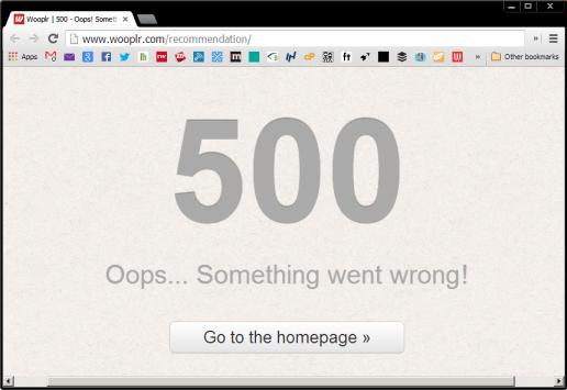 Wooplr 500 Error message!
