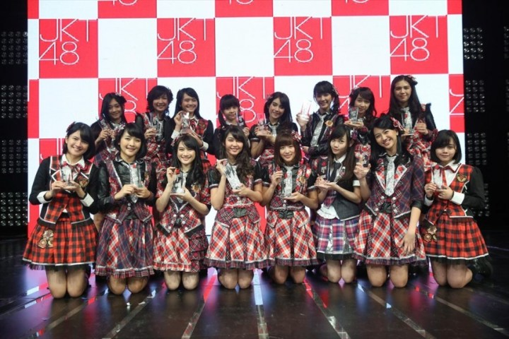 Front liner: The 16 members elected in the senbatsu sousenkyo. Courtesy of JKT48 Project, via Global News Asia.