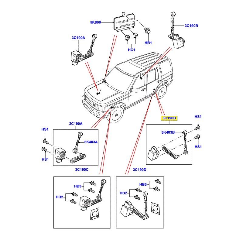 Capteur de hauteur suspension arrière droit Discovery 3