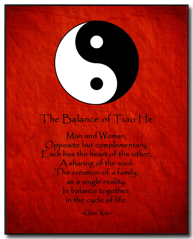 Love Poem Plaque Yin Yang BW By Qiao Xiao Red Background