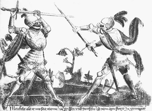 Lámina del manual de esgrima aleman del s. XV Gladiatoria, que ilustra el agarre de media espada