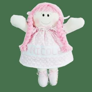 Boneca de Pano Personalizada com Nome de Vestido Rosa Claro