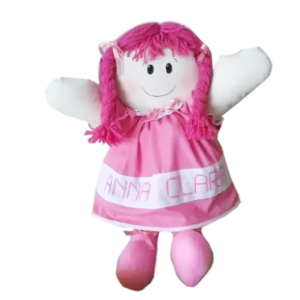 Boneca de Pano Personalizada com Nome de Vestido Rosa