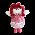 Boneca de Pano Personalizada com Nome de Vestido Vermelho-jmc-cha-de-fraldas