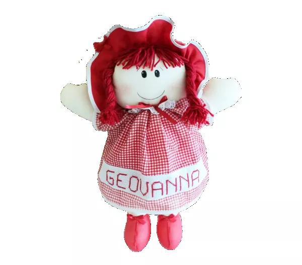 Boneca de Pano Personalizada com Nome de Vestido Vermelho
