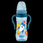 Mamadeira Lillo Sonho Acinturada Ortodôntica Silicone Alça Azul 240 ml