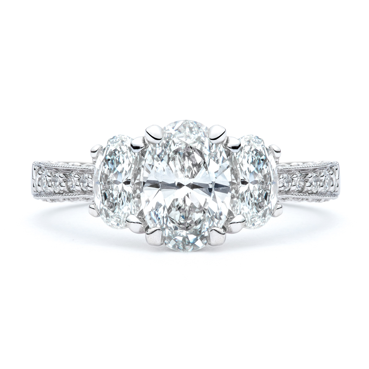 The Caroline Oval Three Diamond Engagement Ring