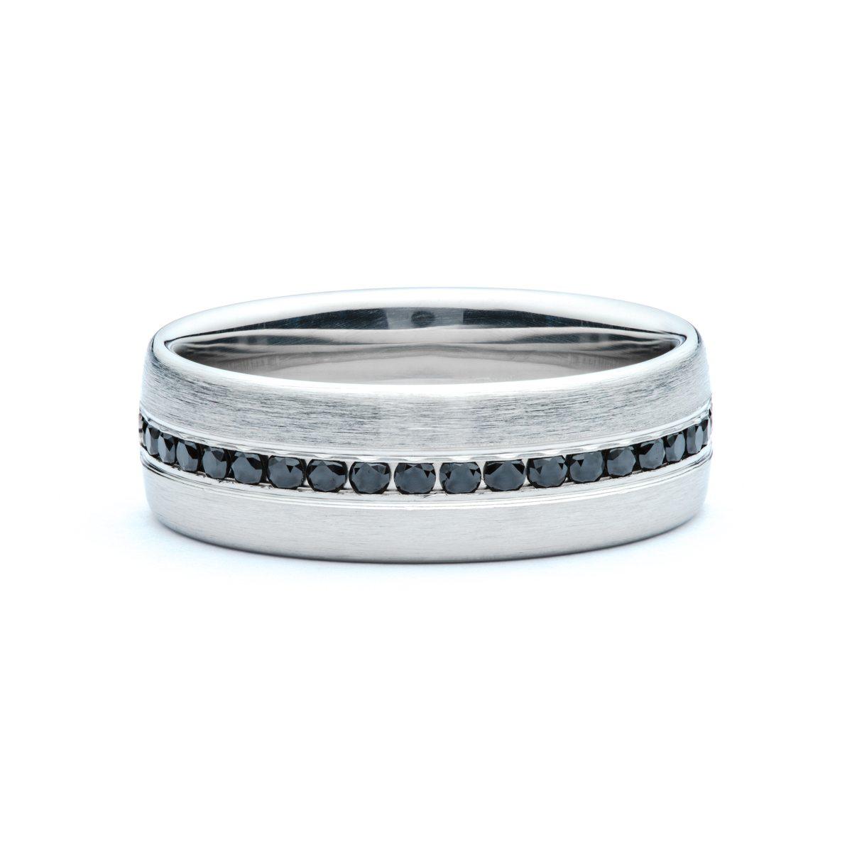 Black Diamond Brushed Mens Wedding Band  JM Edwards Jewelry