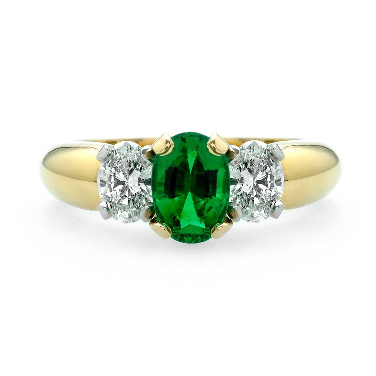 Emerald And Diamond Oval Three Stone Ring JM Edwards Jewelry