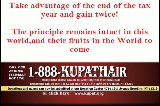 Donations and names can now be submitted on the phone, online, or at our donation center. www.kupat.org