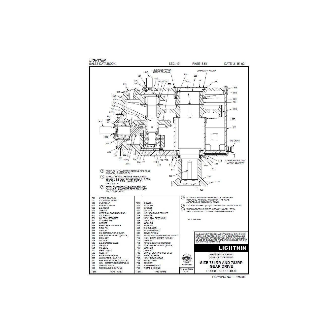 Used 75 HP Lightnin Mixer Agitator Drive Model LAT-150