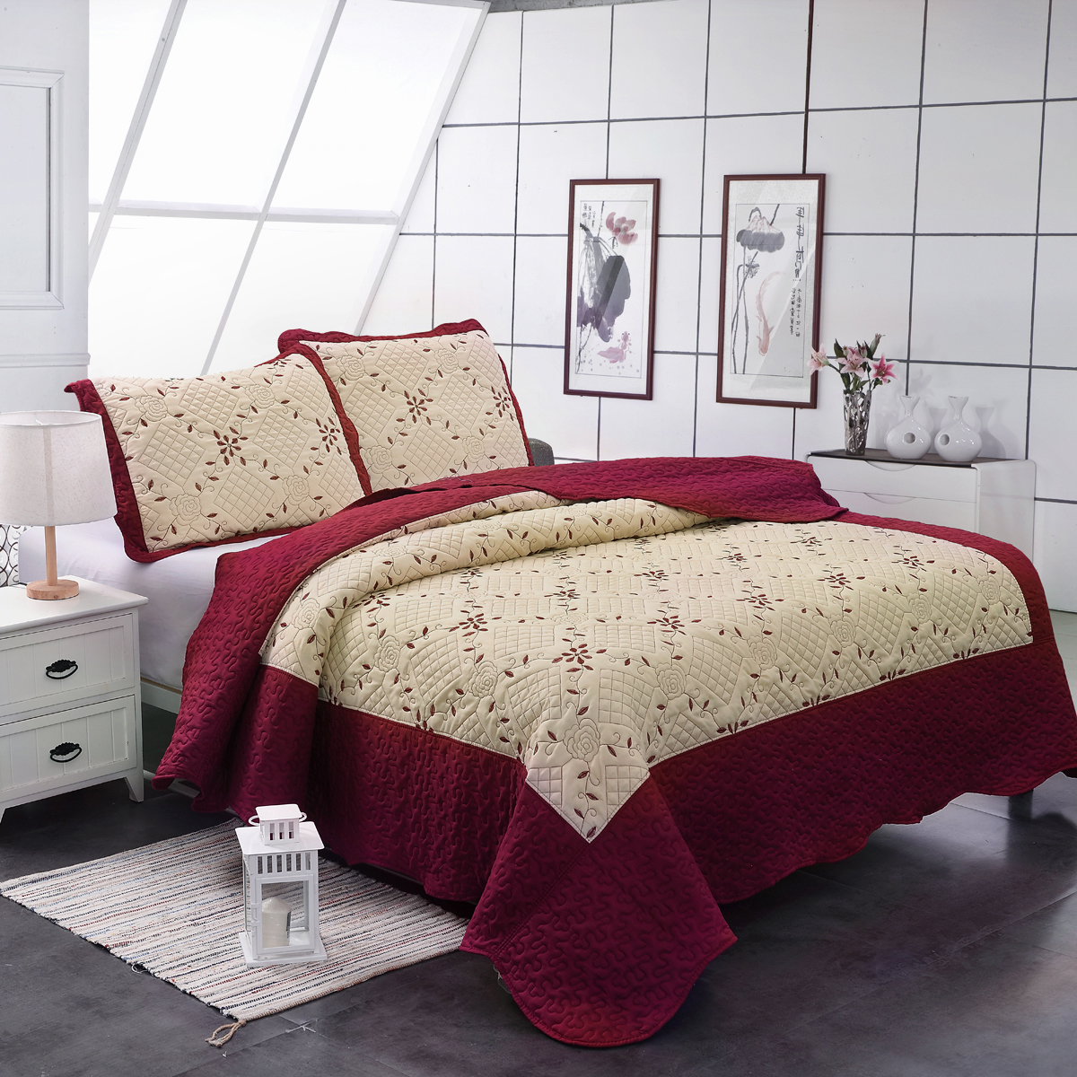 Luxury 3 Pieces Quilt Set King Size Soft Brushed