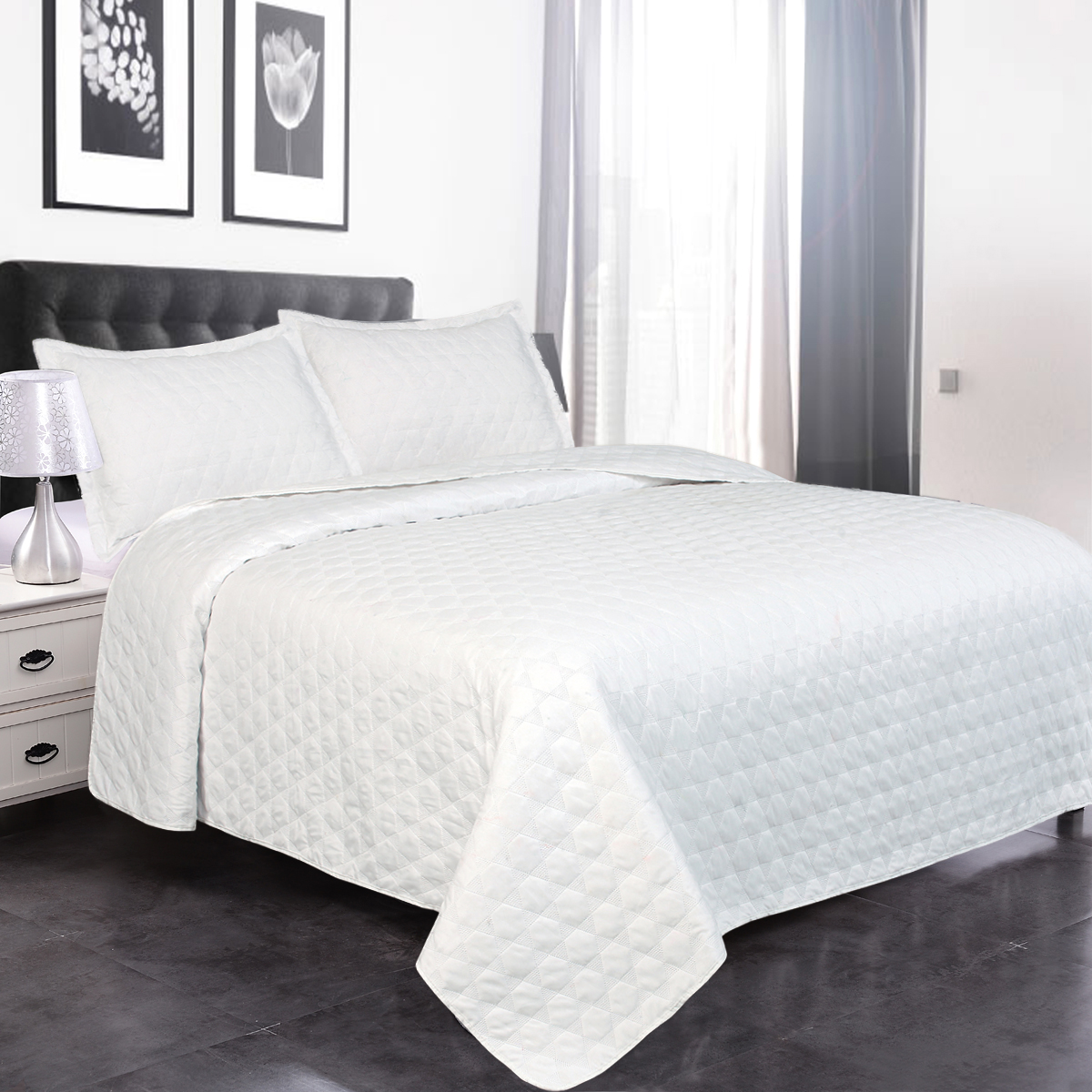 Luxury Ultrasonic Twin Quilt Set With Shams 2 Pieces