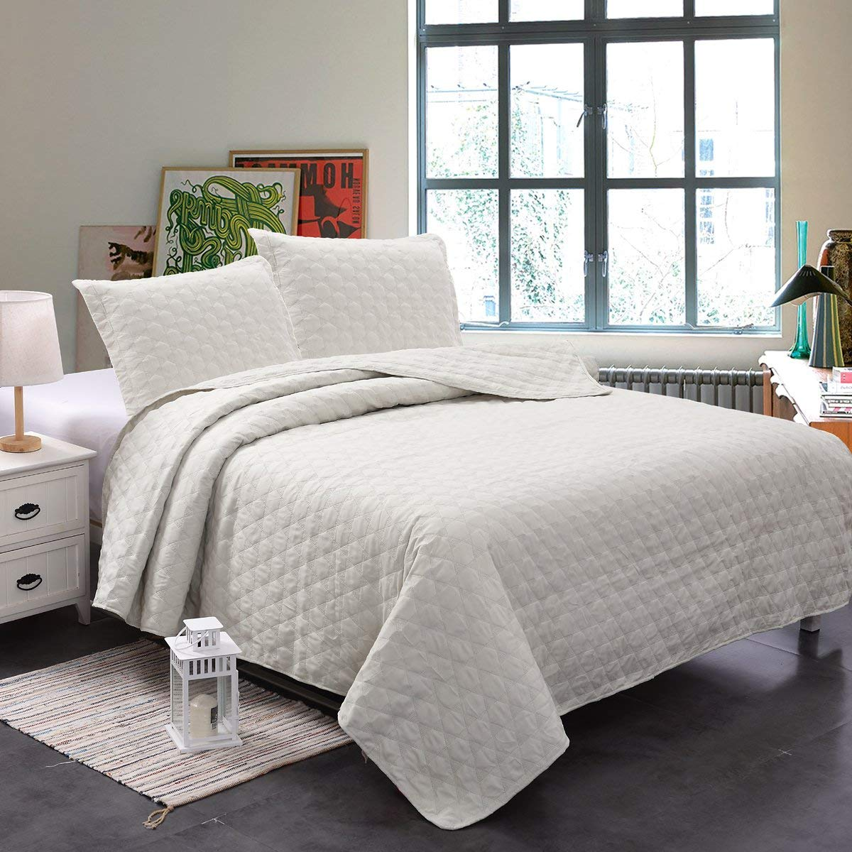 Luxury Ultrasonic Queen Quilt Set With Shams 3 Pieces