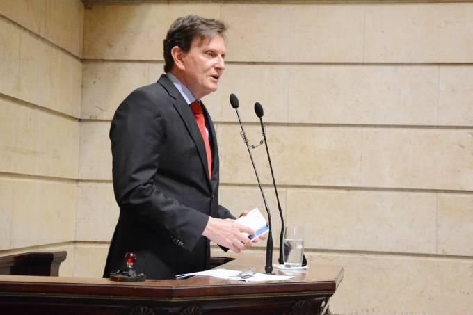Marcelo Crivella durante cerimônia de posse na Câmara Municipal do Rio de Janeiro (Câmara Rio/Divulgação)