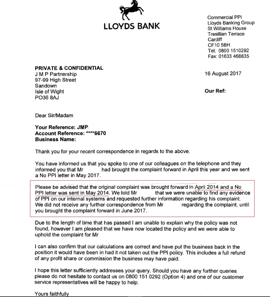 Mis sold ppi letter to bank lvelegant you were not sold ppi by us spiritdancerdesigns Choice Image