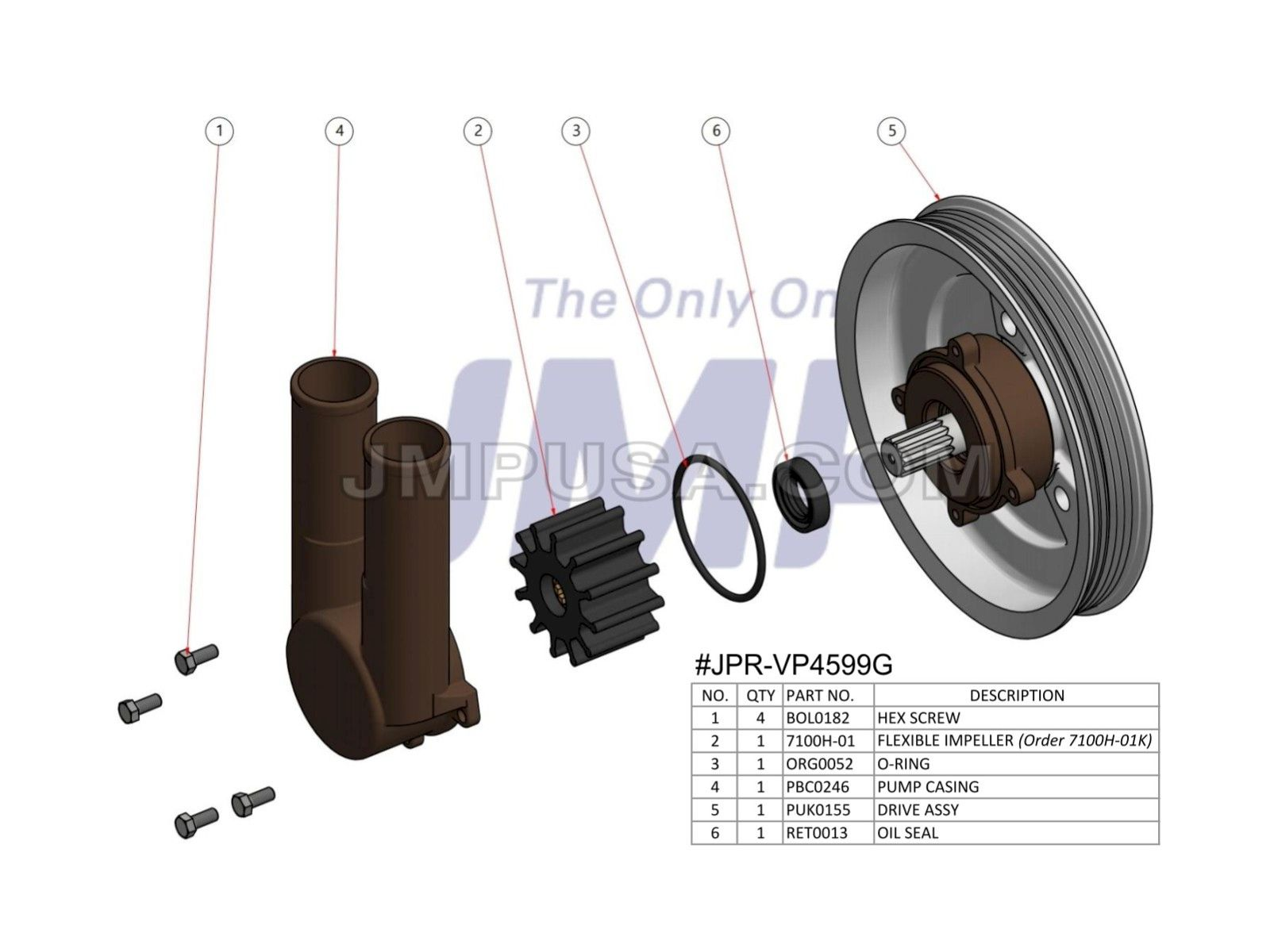 Volvo Penta Exploded View Schematic Seawater Pump And Hoses Later