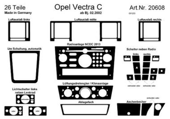 Innendekor Armaturenbrett/ Mittelkonsole Opel Vectra C
