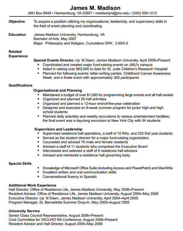 examples of combination resumes