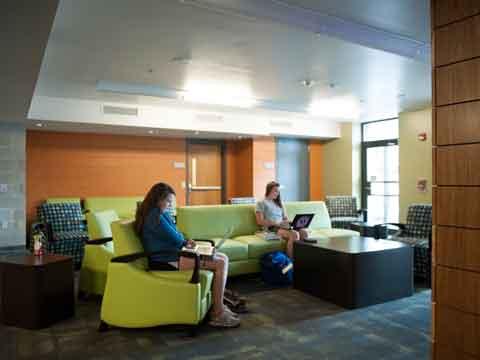 art for large living room wall with yellow sofa james madison university - wayland hall