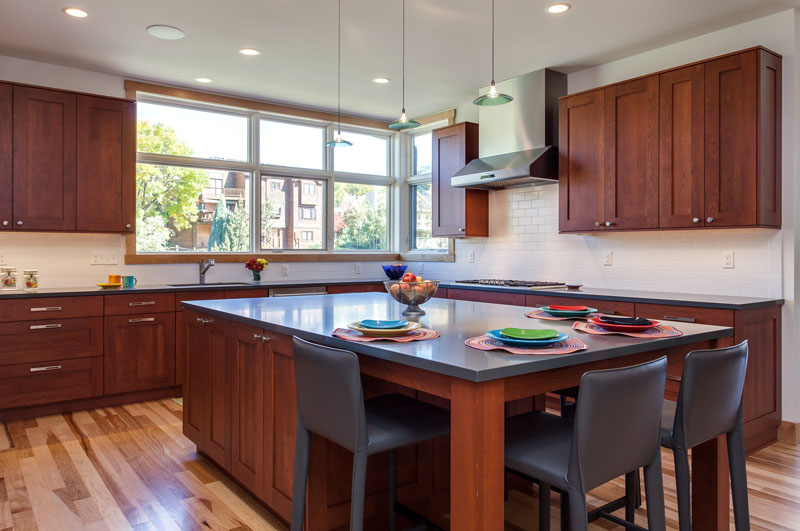 Contemporary kitchen dining room remodel with grey cabinets