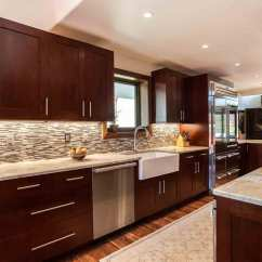 Red Cherry Cabinets Kitchen Front Travel Trailer Transitional In Creek Jm