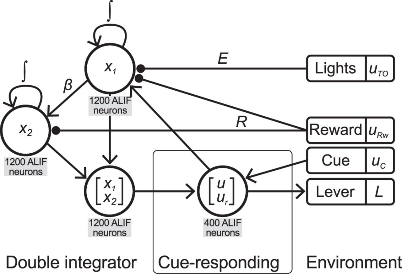 A Spiking Neural Integrator Model of the Adaptive Control