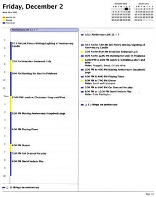 2011 Anniversary Schedule
