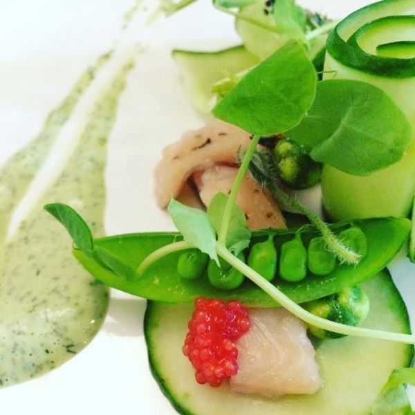 Trout, peas, cucumber and a herb buttermilk