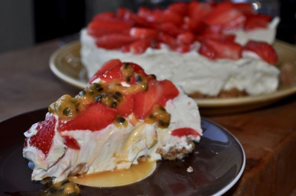 Strawberry and passion fruit cheesecake