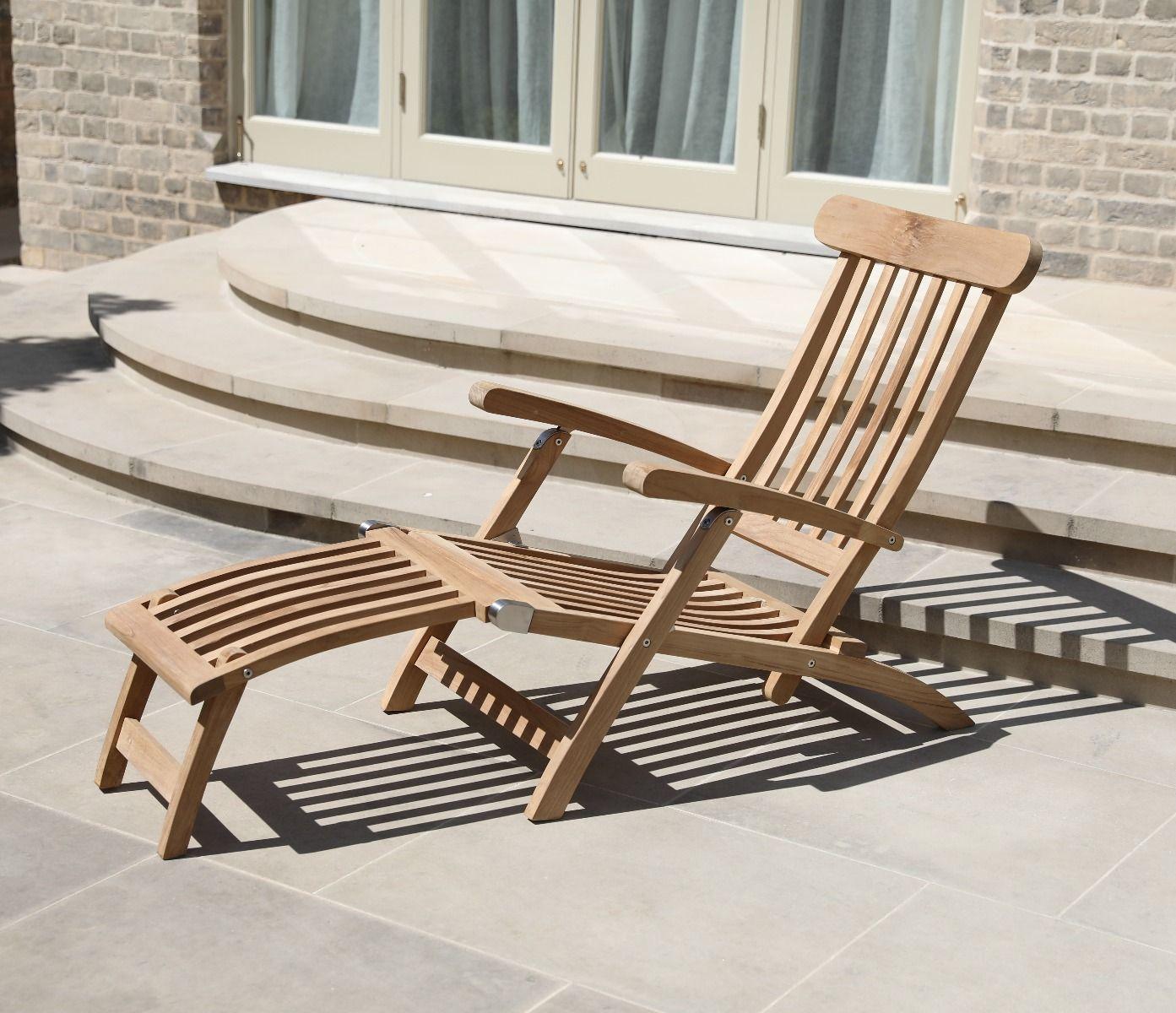 teak steamer chair gym setup wooden jo alexander