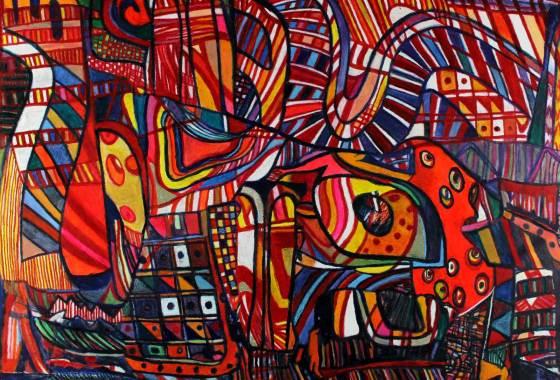 "Circular Pathways 37.5"" x 53.5"" Mixed Media on Canvas"