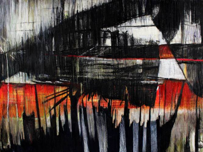 """Overhang 38"""" x 50.5"""" Mixed Media on Canvas"""