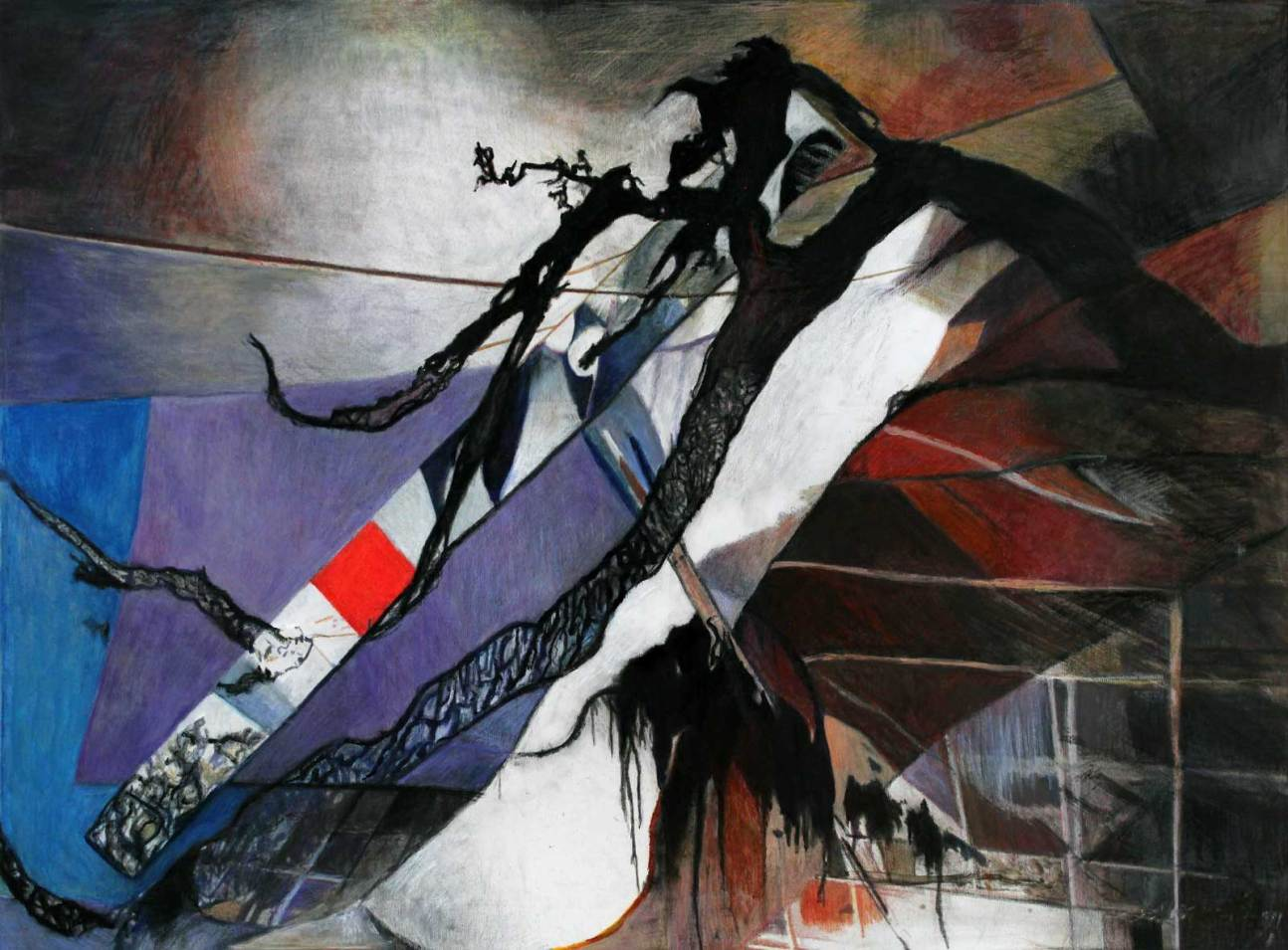 "Slice of Eternity 30"" x 47"" Mixed Media on Canvas"