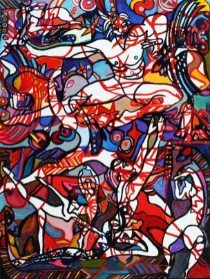 "Dance Fantastique II 50"" x 38"" Mixed Media on Canvas"