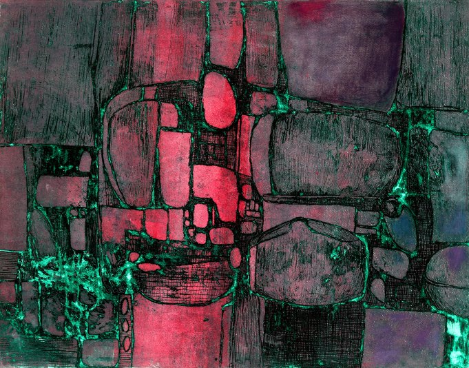 """Mauve Synergism 22"""" x 27.5"""" Etching on Paper"""