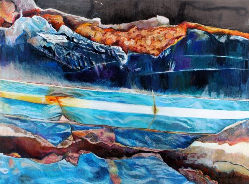 """Surf and Turf 37.5"""" x 51"""" Mixed Media on Paper"""
