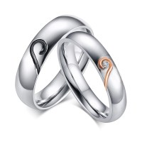 Heart Design Titanium Steel Gemstone Promise Ring for ...