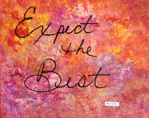 "Photograph of ""Expect the Best "" collage in passionate colors of gold, plums, yellows, violet, orange & purple"